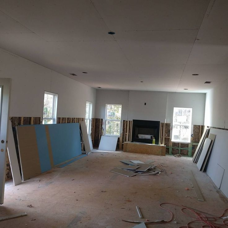 #drywall Has Started! I Didnu0027t Get To Many Pictures Because I Didnu0027t Want  To Get In Their Way! So I Just Ran In Snapped A Pic Of The Family Room  Kitchen ...