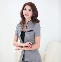Nuevo y elegante gris 2015 de la corto manga de la chaqueta para mujer Tops ropa para las damas oficina de diseño uniforme Blazers negocio