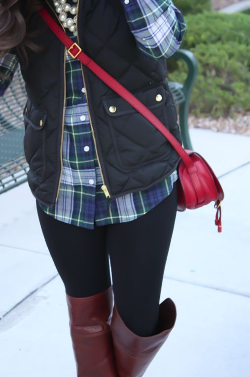 Plaid Shirt, Quilted Vest, Black Leggings, Brown Over the Knee Boots, Red Crossbody, J.Crew Factory, Frye, Chloe 10