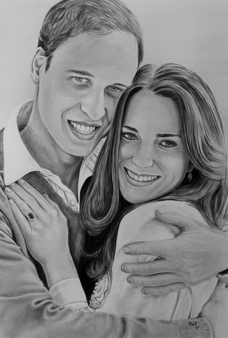 "Original painting ""Duke and Duchess of Cambridge - William and Kate"" by Rudy M Vandecappelle - dry brush - oil on paper. For commissions of any portraits (people, wedding, animals), please visit my website."