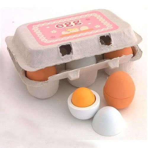 6 X Wooden Eggs Yolk Pretend Play Kitchen Food Kid Children Educational Toy Gift | eBay