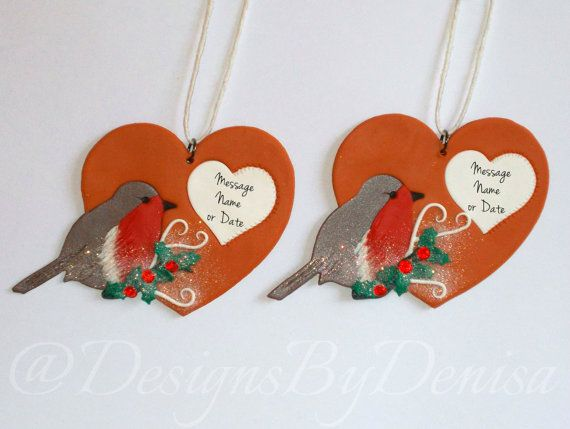 Christmas Robin Holly Tree Twig Personalised by DesignsByDenisa
