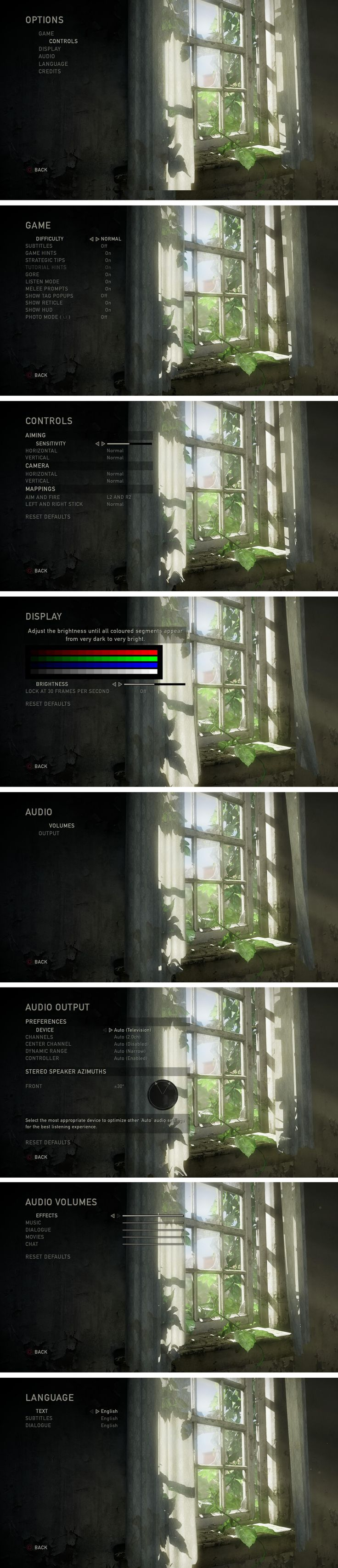 """Settings UI (User Interface) for the game """"The Last of Us"""" Copyright Naughty Dog – Screenshot taken on PS4 Console by Pinterest user: @fabianzaf"""