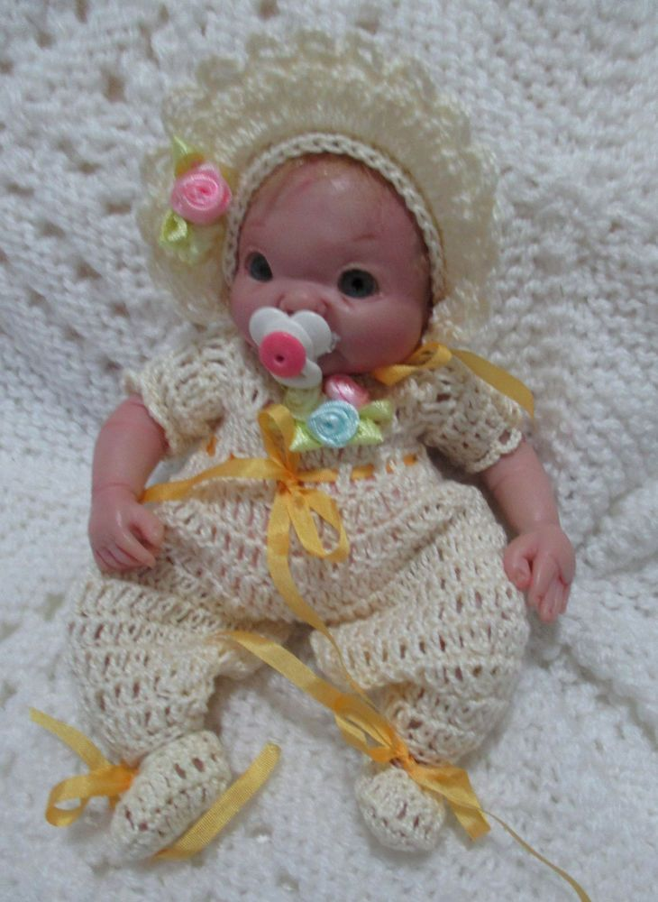DOLL CLOTHES  CROCHET ROMPER OUTFIT SUIT 5 -6  CLAY SCULPT OOAK REBORN