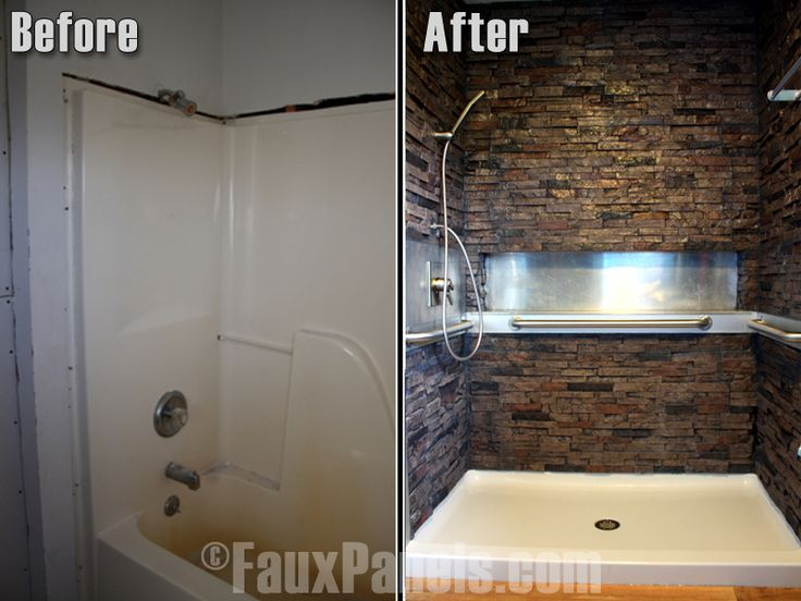 Before-and-after photo of how faux stone turned a normal bathroom into a spa-like setting.    http://www.fauxpanels.com/img_c/14-wellington/design/057.jpg