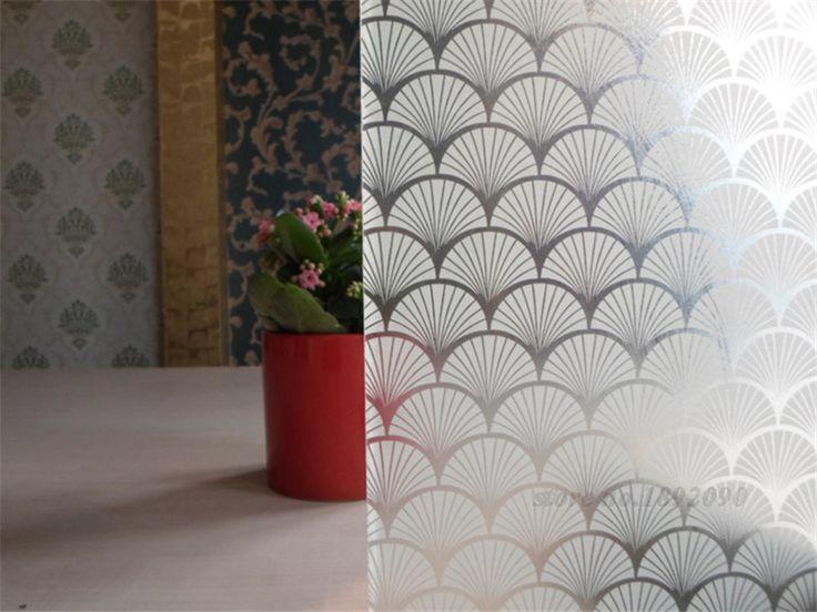 """45 * 100 cm / 17.7 """" * 39.4 """" New projeto de privacidade película decorativa de vidro auto - adesivo etiquetas da janela Home Decor PVC Fan ST068                                                                                                                                                                                 Mais"""