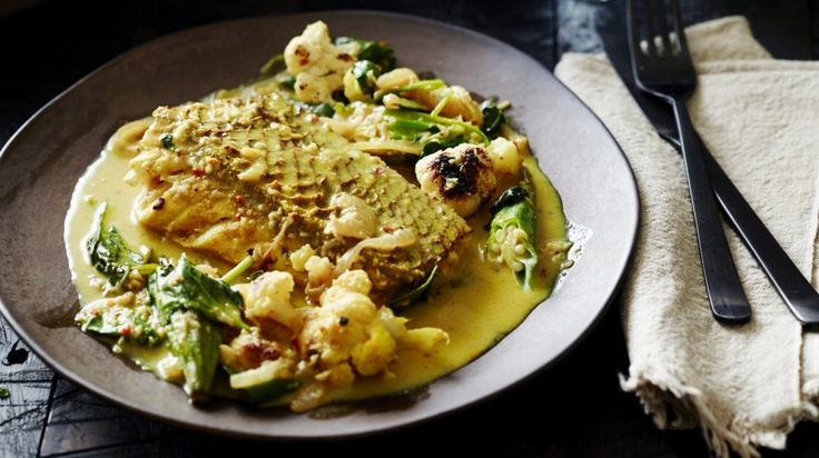 Quick paleo fish curry with roasted cauliflower and okra