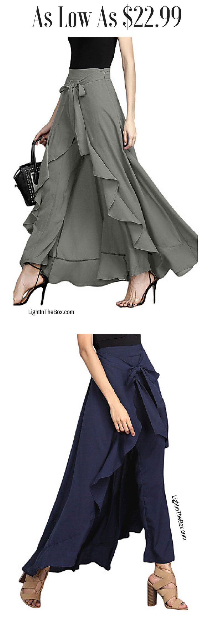 2 in 1 - ruffle pants + skirt. Unique creative look is guaranteed. Find it in grey, blue, wine red, black, brown colours at just $22.99