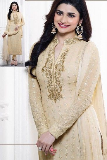 Prachi Desai Cream Georgette Churidar Suit With Dupatta - DMV14726