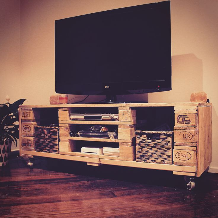 Bespoke TV unit made from reclaimed pallets and timber