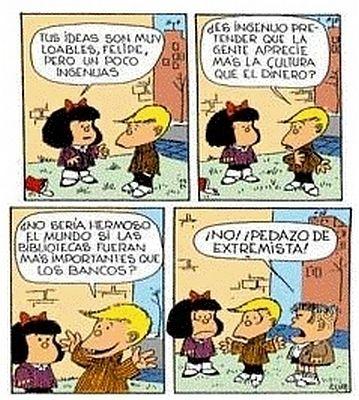 Mafalda, Felipe y Manolito.