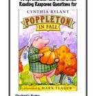 """Reading Response Questions for each chapter of """"Poppleton in Fall"""" by Cynthia Rylant"""