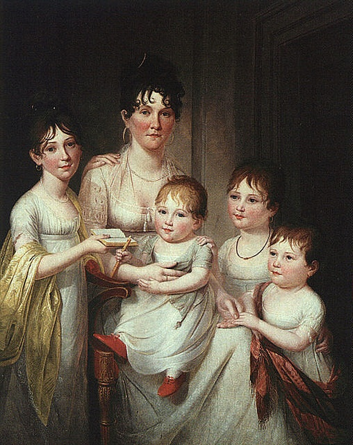 """""""Madame Dubocq and Her Children"""" by James Peale    1807  Youngest is likely a boy, two eldest are girls.:"""