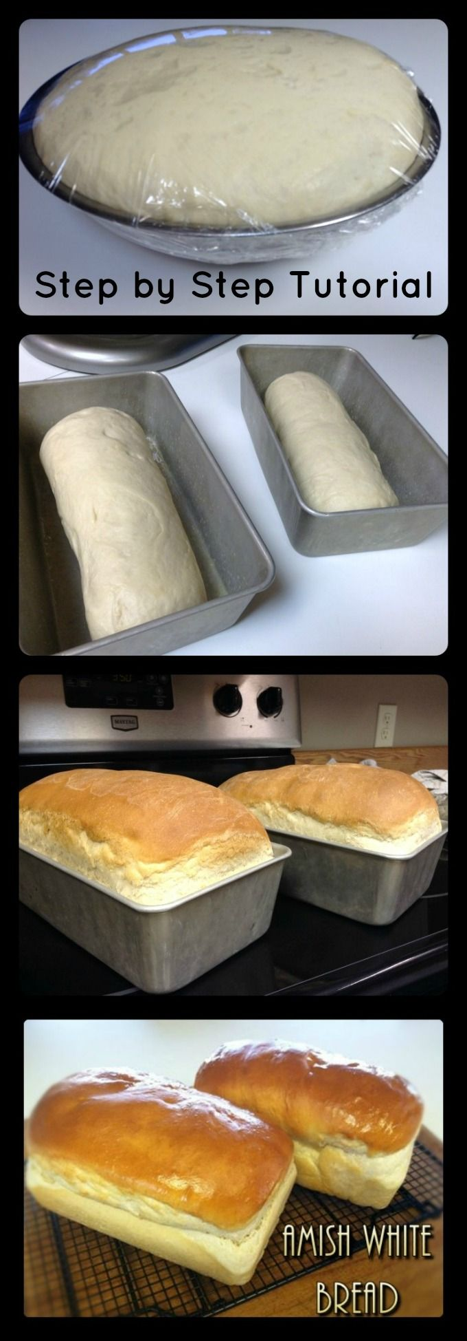Amish White Bread with Step by Step photo tutorial. 6 simple ingredients to make this homemade bread! No bread machine required!