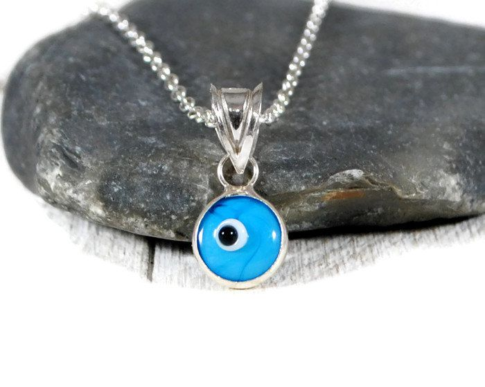 Tiny Turquoise Evil Eye Necklace. Sterling Silver Turquoise Evil Eye Protection Necklace. Layered Necklace. Minimalist Jewelry By GSminimal