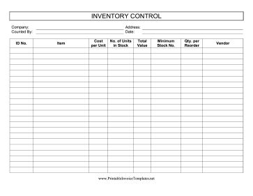 This Printable Inventory Control Log Keeps Track Of Stock