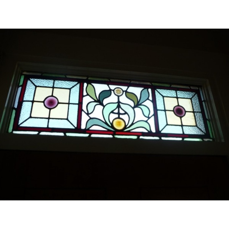 Victorian original Stained Glass Exterior Door with Traditional Leaf design (square tops)