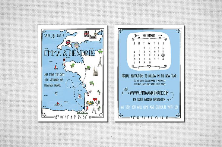 Printable Illustrated Map wedding Invitation or by EmmyDesigns87