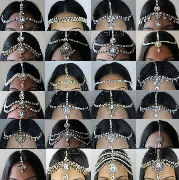 HANDMADE KUNDAN STONES HAIR HEAD CHAIN HEADPIECE HEAD JEWELLERY MATHA PATTI #HairChain