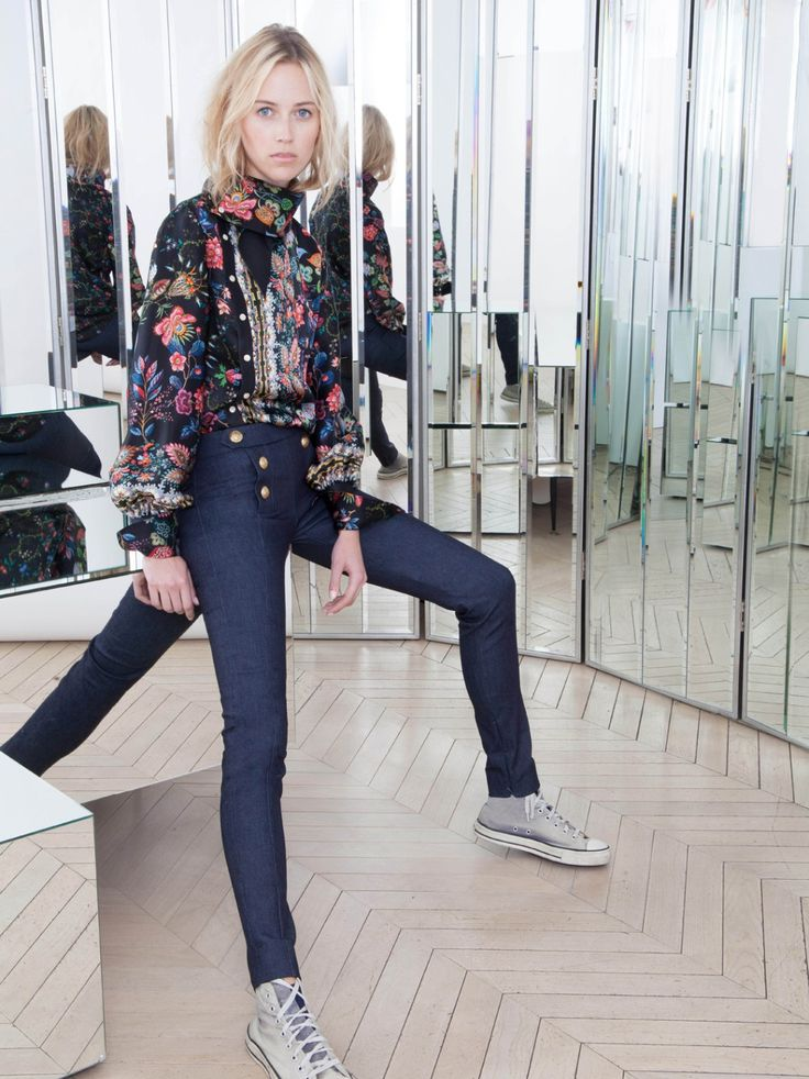 Alexis Mabille ALEXIS MABILLE SAILOR-STYLE SLIM PANTS IN STRETCH DENIM Image 1