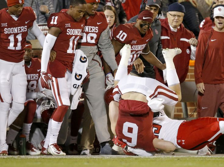 Oklahoma's Baker Mayfield (6) is brought down out of bounds by Texas Tech's Damarcus Fields (23) during a college football game between the Oklahoma Sooners (OU) and the University of Texas Tech Red Raiders (TTU) at Gaylord Family-Oklahoma Memorial Stadium in Norman, Okla., Saturday, Oct. 28, 2017. Photo by Bryan Terry, The Oklahoman