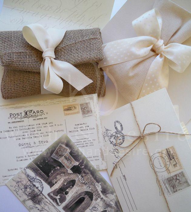 Vintage card postal, φακελος λινατσας και πουγκι