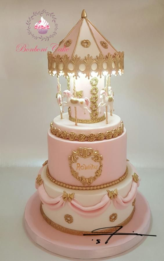 carousel with light cake - http://cakesdecor.com/cakes/262621-carousel-with-light-cake