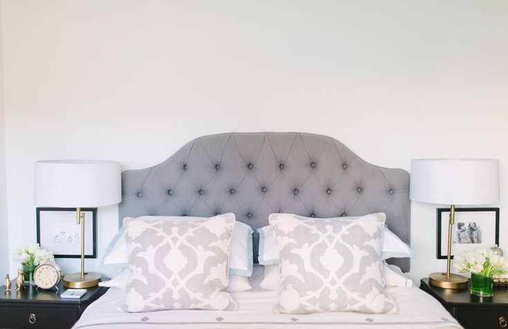 @Danielle Moss Chicago Home Tour // bedroom styling // neutrals // @Farrow  Ball Cabbage White // @Ballard Designs gray headboard // @Euro Style Lighting gold lamps // @Jayson Home terrarium // @Serena   Lily bedding // photography by Stoffer Photography