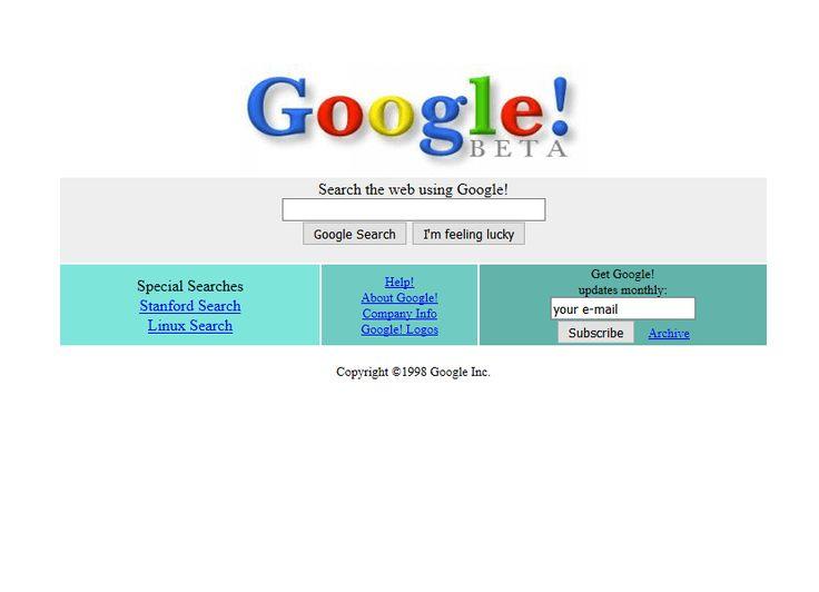 Google website in 1998
