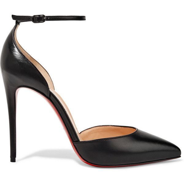 Christian Louboutin Uptown 100 leather pumps (2.445 BRL) ❤ liked on Polyvore featuring shoes, pumps, heels, louboutin, sandals, black leather shoes, high heel stilettos, black strappy pumps, black stiletto pumps and d'orsay pumps
