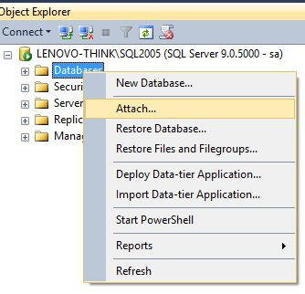 Attaching the Microsoft's Sample Northwind database from SQL Server Management Studio Object Explorer