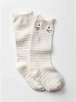 1-2 years : GAP UK  Striped knee high cat socks (white) £3 in sale