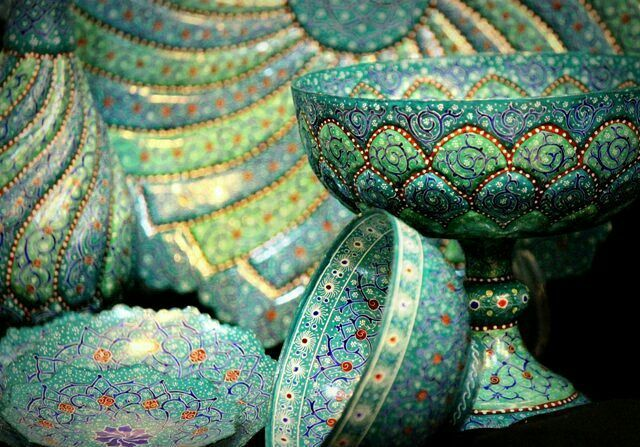"""Mina"" is one of the most Beautiful Handicrafts of Iran.🌈🌌 Many years ago Iranian drank wine in glasses that they were Mina but know Mina is one of the decorative things! . they are painting on  coppery dishes or coppery cups. The most common colors for Mina are Blue and green. Don't forget Mina is a good Iranian souvenir!! 😊😃"
