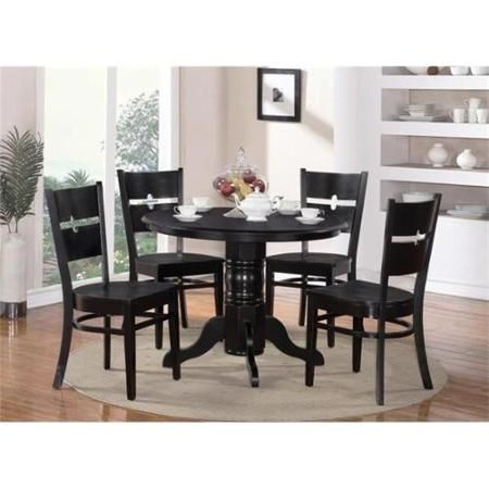 east west furniture shro5blkw 5 piece shelton round table and 4 groton chairs
