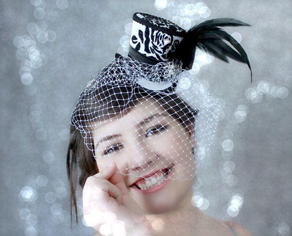Bianco Mini Top Hat, cappello di nozze, Mini cappelli, Tea Party Hat, cappello…