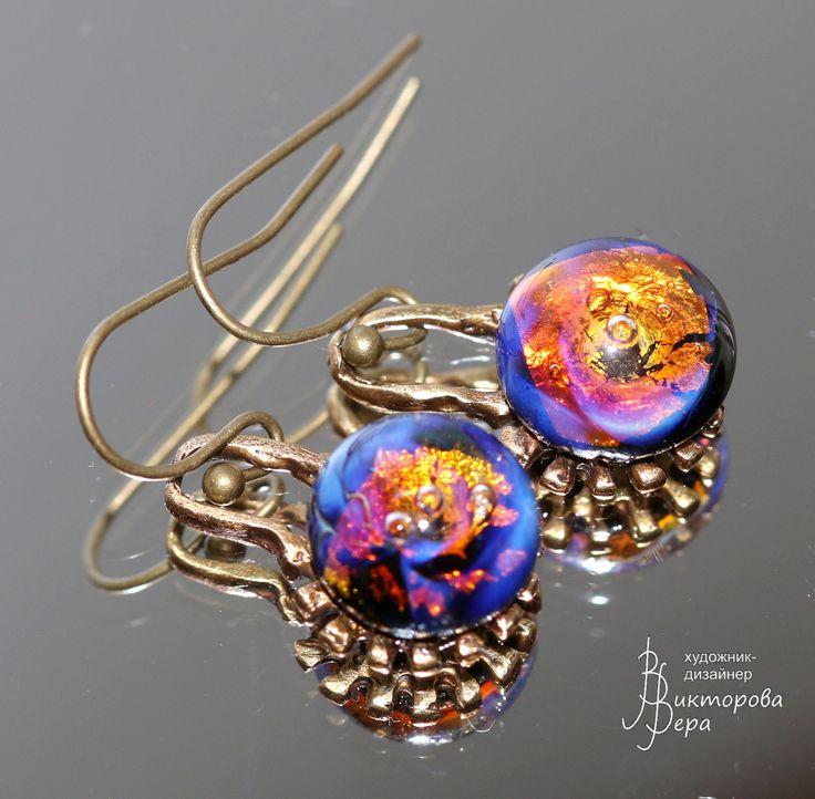 "Earrings ""cycles of time."" Bronze Handmade^ Artisan lampwork handmade."