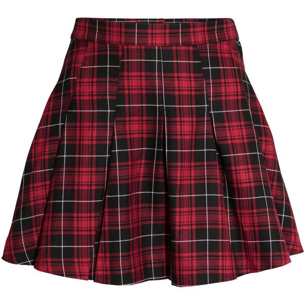 H&M Pleated skirt (£15) ❤ liked on Polyvore featuring skirts, mini skirts, bottoms, red, faldas, short skirts, checkered skirt, pleated skirt, h&m skirts and h&m