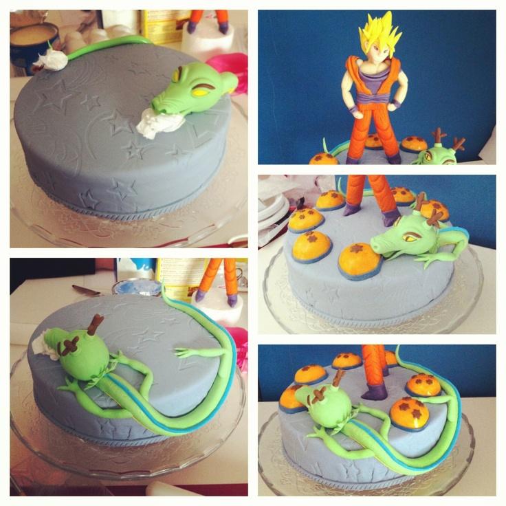Edible Cake Images Gosford : Dragon ball Z cake. Son Goku & Sherong made with fondant ...