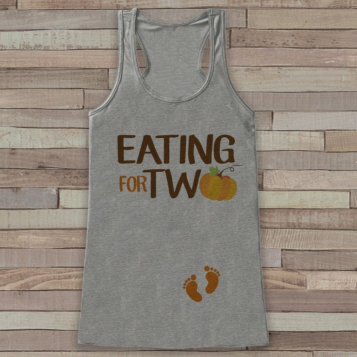Thanksgiving Pregnancy Announcement Tank Top - Eating for Two Pregnancy Reveal - Pregnancy Shirt - Grey Tank - Thanksgiving Pregnancy