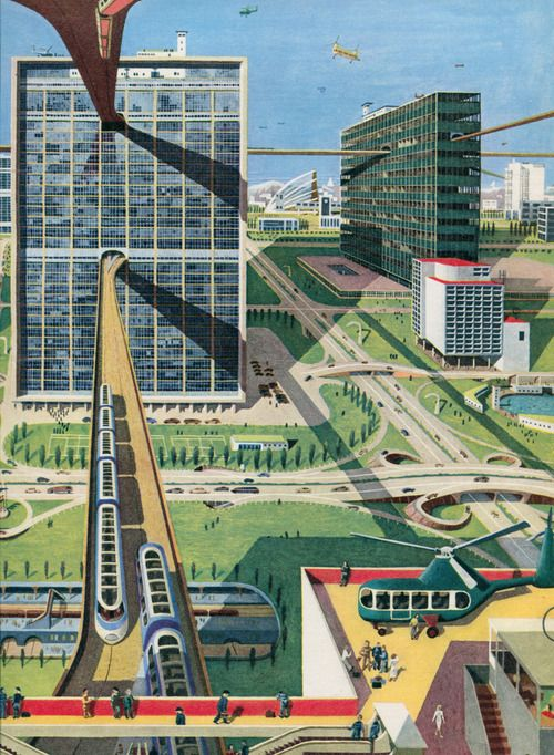 A highly-modernist graphic of the City of the Future by Kempster & Evans.