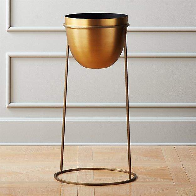 Milo Brass Planter On Stand Large Brass Planter Steel Planters Planters