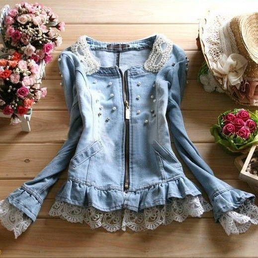moda primavera 2014 rendas pérola água decoração lavar denim design curto outerwear top feminino outwear mulheres jaquetas jean em Jaquetas ...