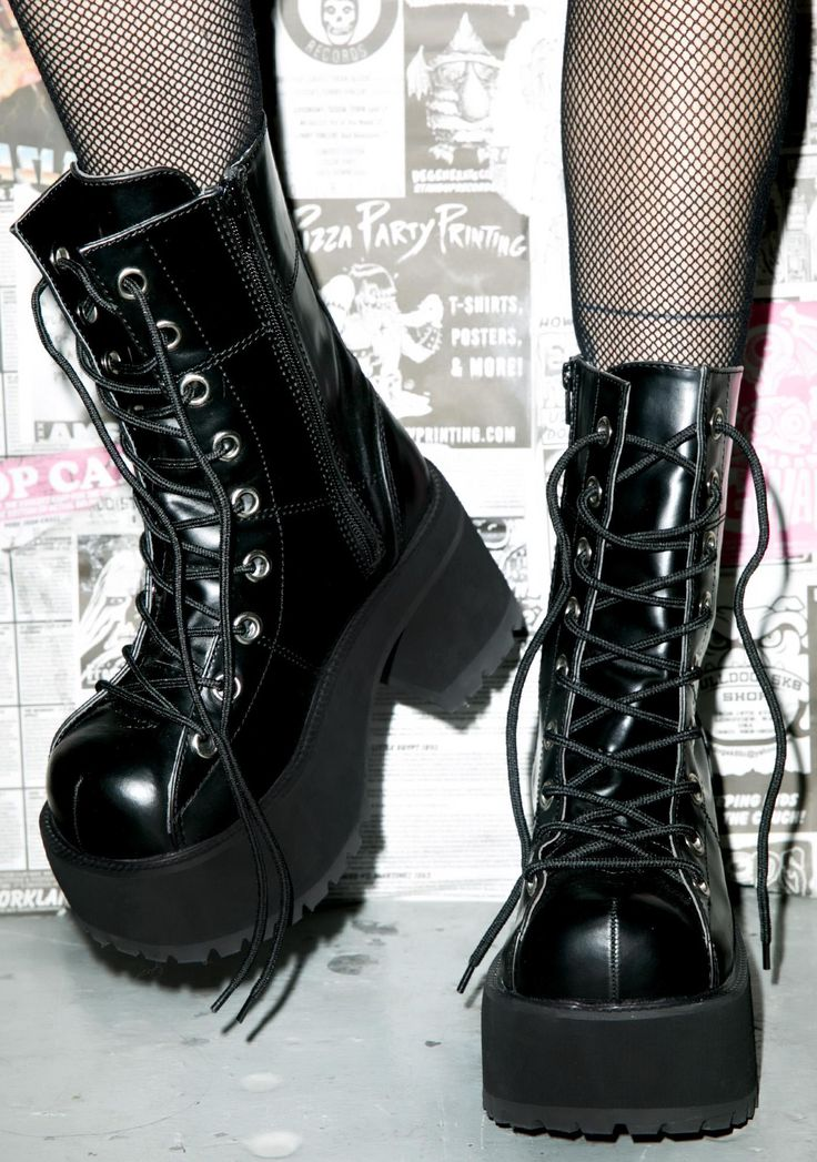 "Demonia Under Pressure Platform Boots yer a Queen to us babygirl. So slam on these boots and get to dancin'. Featurin' lace up fron and 3.25"" heel these are the shoes that get us to steppin' real fuckin' quick."