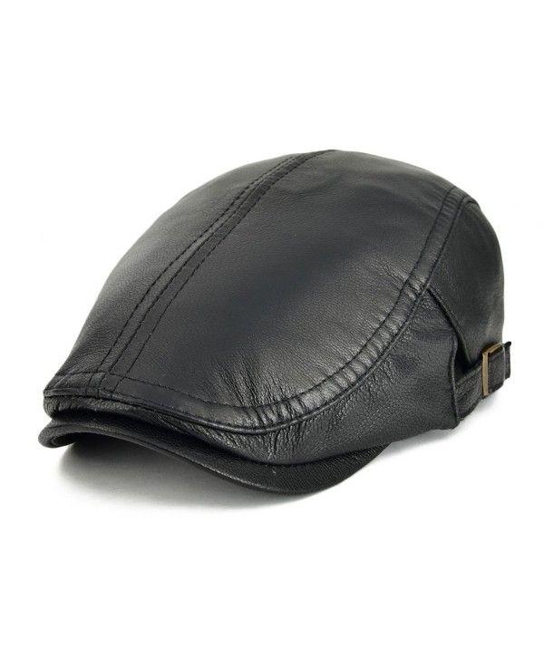 genuine soft lamb leather paper boy cap. Black