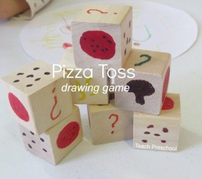 Pizza toss drawing game for preschool