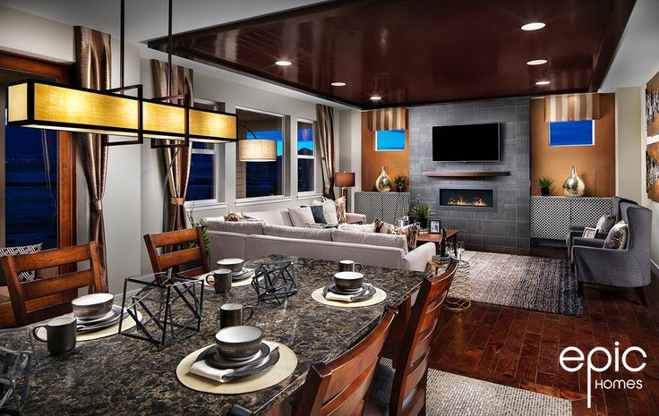 Summit Model Nook with View into Grand Room - 3498 sq ft Model - Epic Homes, Leyden Rock, Arvada Colorado