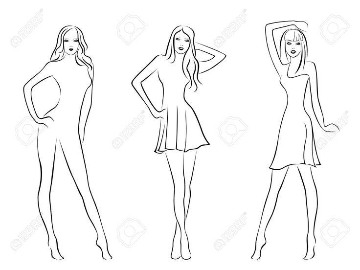 Tři Elegantní Modelky Na Bílém Pozadí, Ruční Kresba černé A Bílé ...