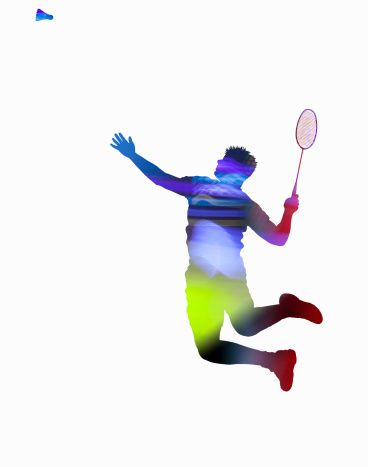Badminton player on smash