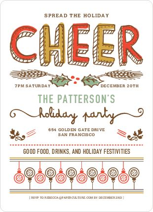 Spread the holiday cheer invitations party invitations and cheer