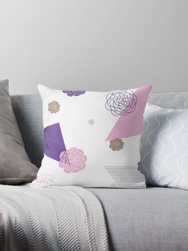 Memphis Ultra Violet Flower Throw Pillow Pattern by LisaLiza Redbubble. #ultraviolet  #retro #vintage #abstract #geometric #purple #triange #redbubble #confetti #floral #plant #pattern  #giftideas #throwpillow #pillow #cushion